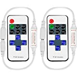 RGBZONE 2 Pack 11-key RF Mini Wireless Remote Controller with DC Connector for Single Color 3528 5050 LED Strip Lights