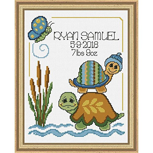 Baby by Herrschners Turtle Stack Birth Record Counted Cross-Stitch Kit (Turtle Stack)