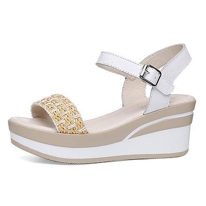 81f62b0c1 Amazon.com  KJJDE Women s Platform Wedge Sandals JZ-32 Woven Bag ...