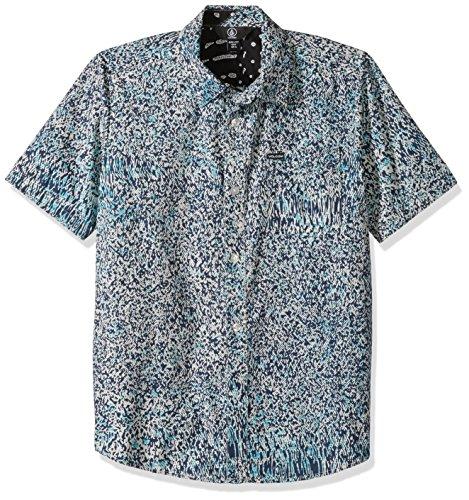 Volcom Dot (Volcom Big Boys' Drag Dot Short Sleeve All Over Print Button up Shirt, Misty Blue, S)