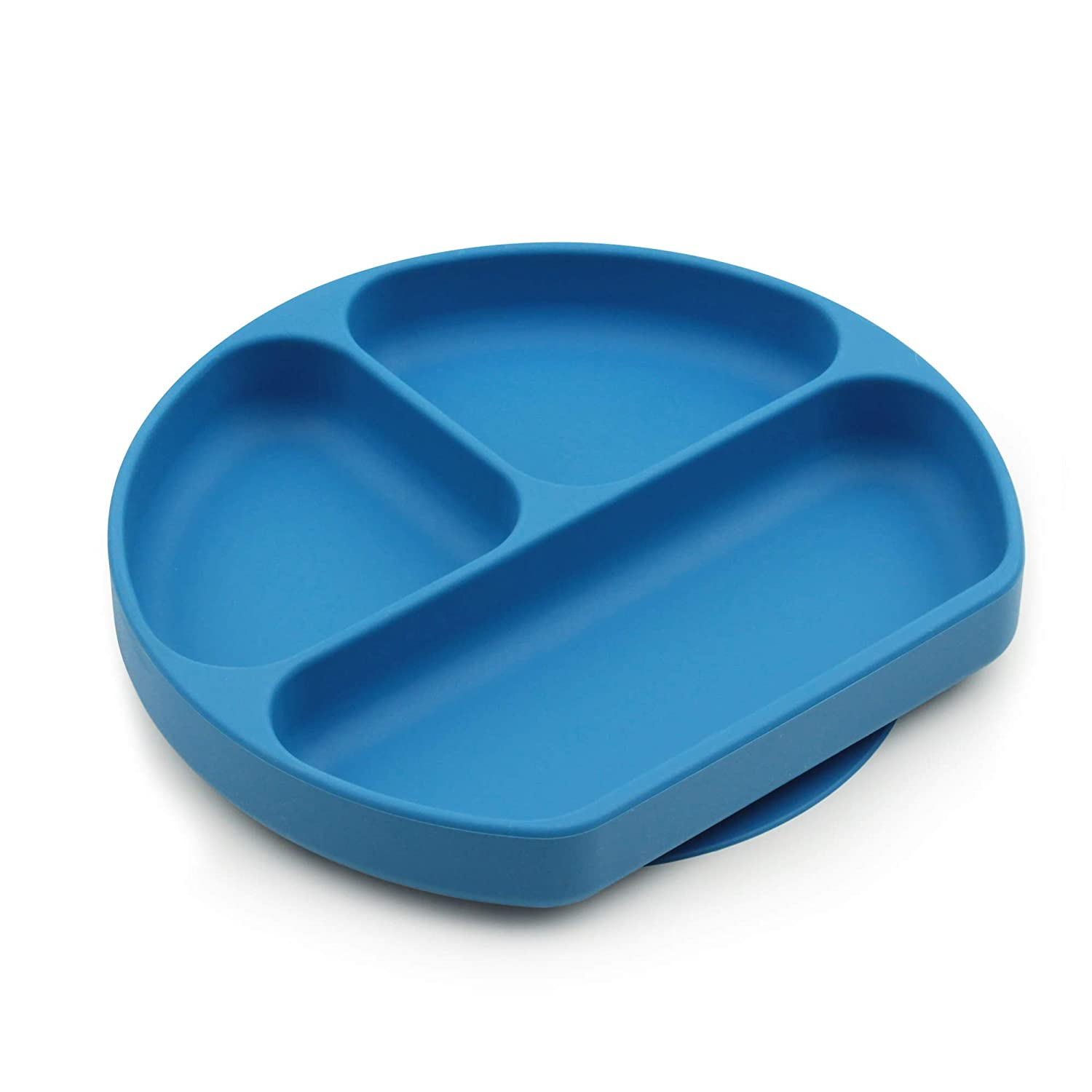 Bumkins Silicone Grip Dish, Suction Plate, Divided Plate, Baby Toddler Plate, BPA Free, Microwave Dishwasher Safe – Dark Blue