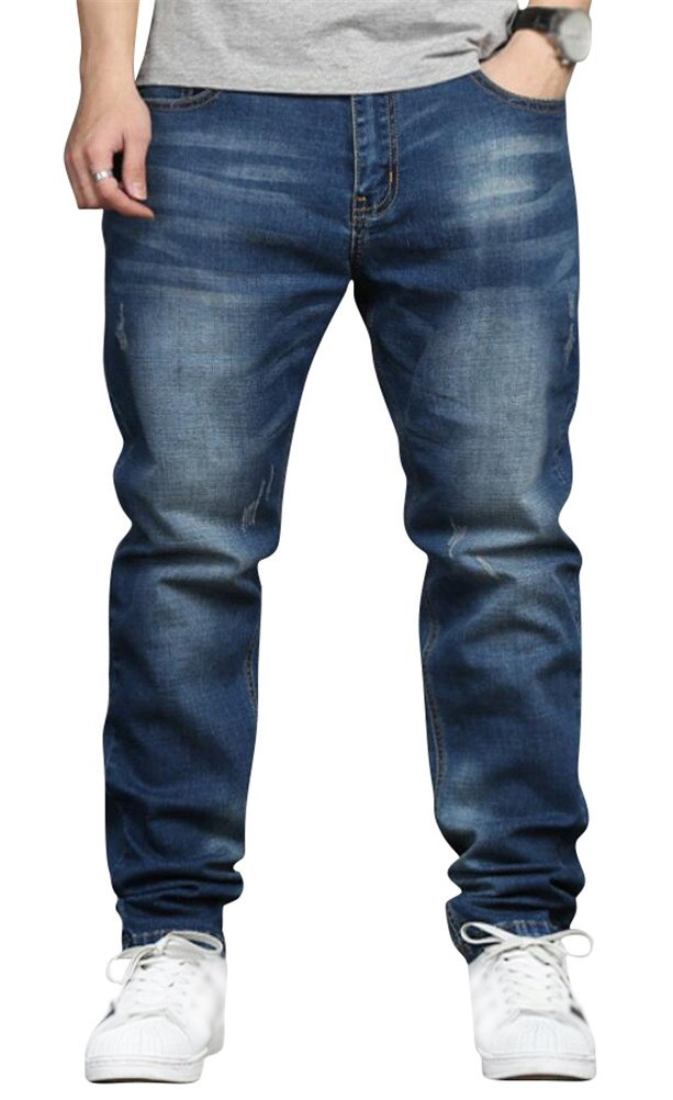 SATUKI Jeans for Men Relaxed Fit,Loose Fit Blue Stretch Straight Leg Denim Jeans Big and Tall Plus Size (W48)