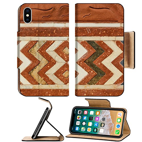 Liili Premium Apple iPhone X Flip Pu Leather Wallet Case ID: 26422299 Wall of Taj Mahal India with intricate designs and patterns in red sand stone with inlaid (Inlaid Marble)