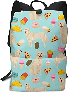 Liumong Golden Retriever Chips Food Pink Red Dogs Book Bag Holder Travel Back Backpack School Travel Hiking Small Mini Gym Teen Little Girls Youth Kid Women Men Printed Patterned Themed Bookbags