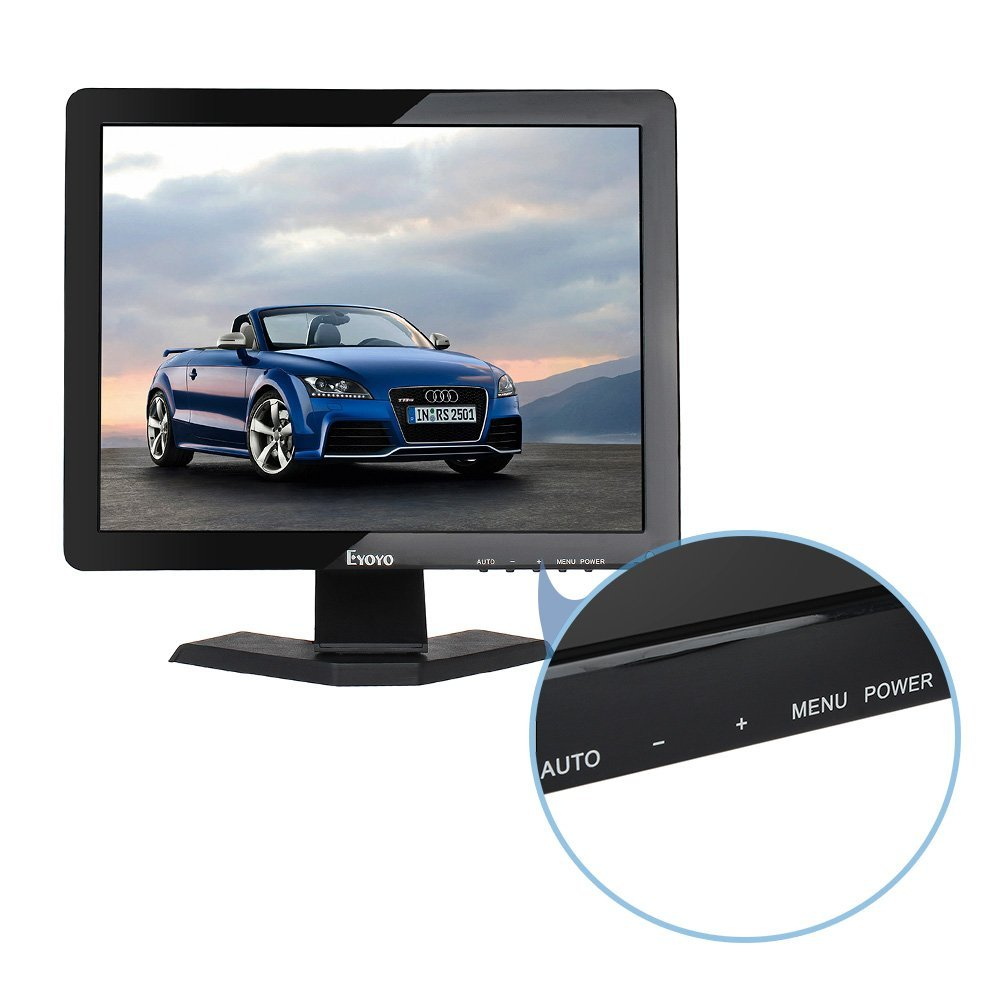 Eyoyo 15'' Inch Monitor 1024x768 HDMI Monitor 4:3 TFT LCD Color Screen with BNC/VGA/AV/HDMI/USB Earphone Output for PC Laptop Security Monitoring Built-in Speaker by Eyoyo (Image #3)