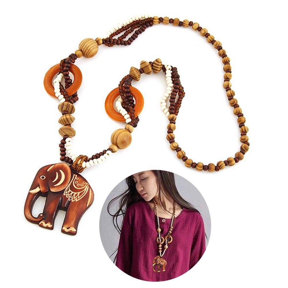 EQLEF® Fashion Bohemian Vintage Ethnic Wood Elephant Pendant Long Sweater Chain Necklaces & Pendants for Women