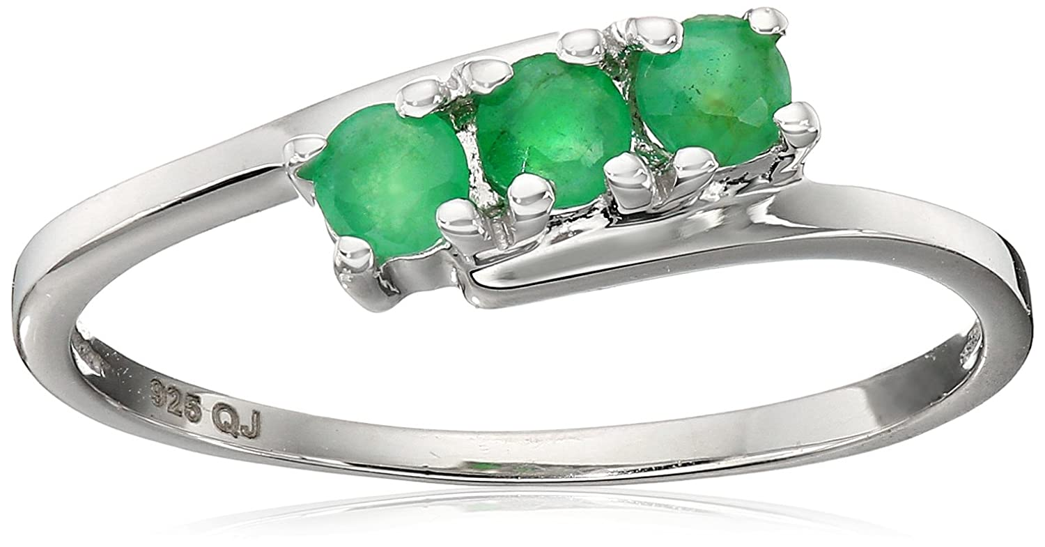 0.27 Carat Genuine Emerald .925 Sterling Silver Ring