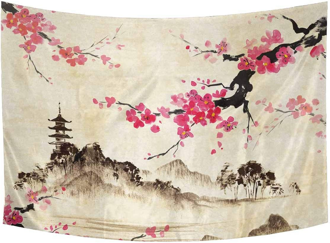INTERESTPRINT Vintage Watercolor Spring Cherry Blossom Landscape Cotton Linen Tapestry Wall Art Home Decor, Tapestries Wall Hanging Art Sets, 90W X 60L Inch