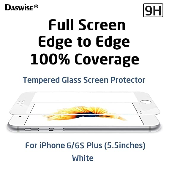 best authentic 6e213 6c047 iPhone 6s Plus, iPhone 6 Plus Screen Protector, Daswise Full Screen  Anti-scratch Tempered Glass Protectors, Cover Edge-to-Edge, HD Clear,  Bubble-free ...