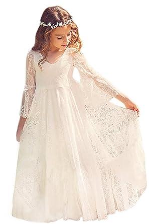 d4d92c7f464bf6 MisShow® Mädchen Kleid Pailletten Masche Hochzeit Prinzessin Tüll Gr.  116-158