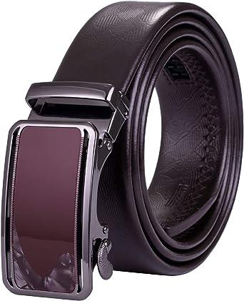 Barry.Wang Mens Belt Black Gift Set Belt for Men Ratchet Leather Strap Sliding Buckle