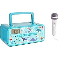 AUNA Kidsbox Underwater CD Boombox - Lecteur CD, Microphone à Main, Bluetooth, Tuner Radio FM, Port USB, Afficheur LED, Secteur/Pile, Prise Jack 3,5 mm pour Casque, Turquoise