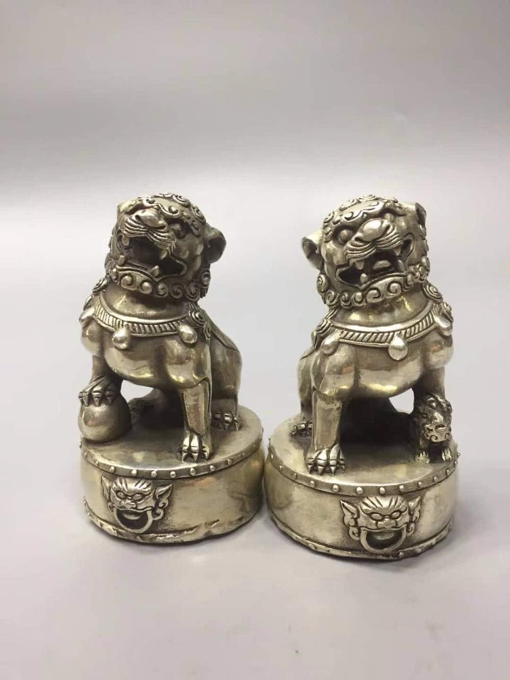 ZAMTAC Collection 1 Pair Tibet Silver Lion Statue,Home/Office Desk Decoration Fu Foo Dog Sculpture Metal Crafts