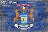 Rustic Michigan State Flag (9x12 Art Print, Wall Decor Travel Poster)