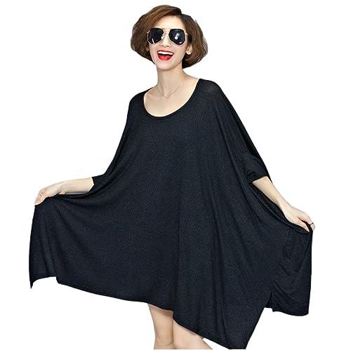 HGDR Womemn Algodón Vestido Ocasional Simple Y Sencilla Es De Gran Tamaño Cuello Redondo Vestido Max...