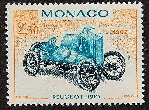 Vintage Car Peugeot 1910 Monaco -Framed Postage Stamp Art 14873 ()