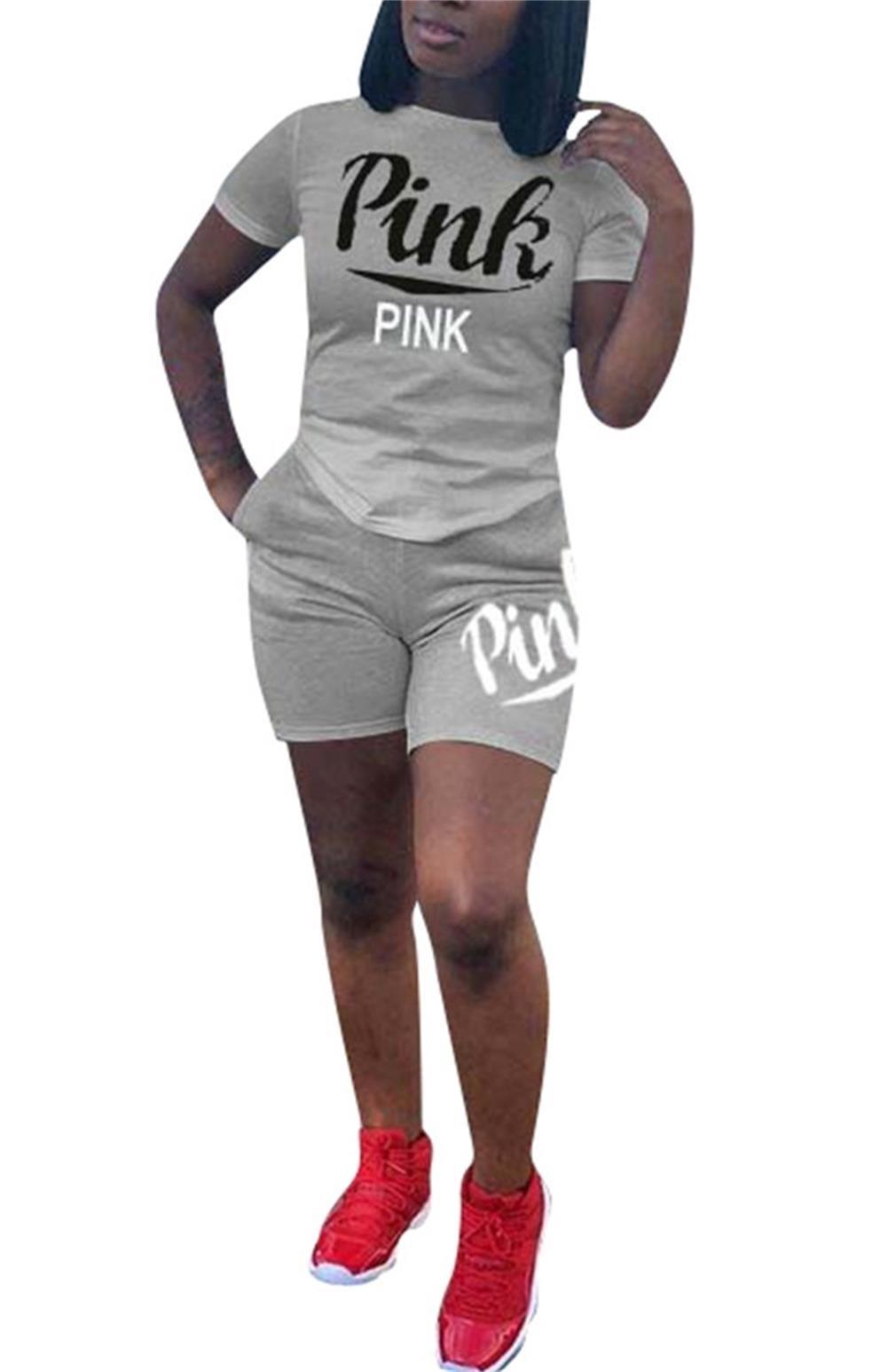 DingAng Women's 2 Piece Set Letter Print Crop Top and Short Pants Tracksuits Set Sportwear S-3XL
