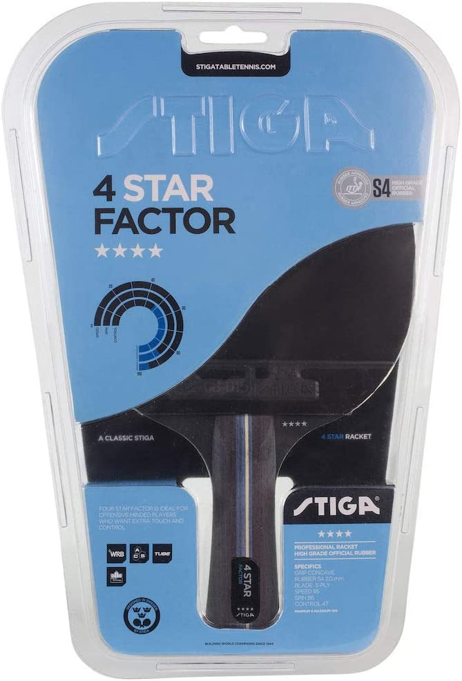 Stiga 4-Star Factor - Raqueta de ping pong unisex para adulto, negro/rojo, talla única
