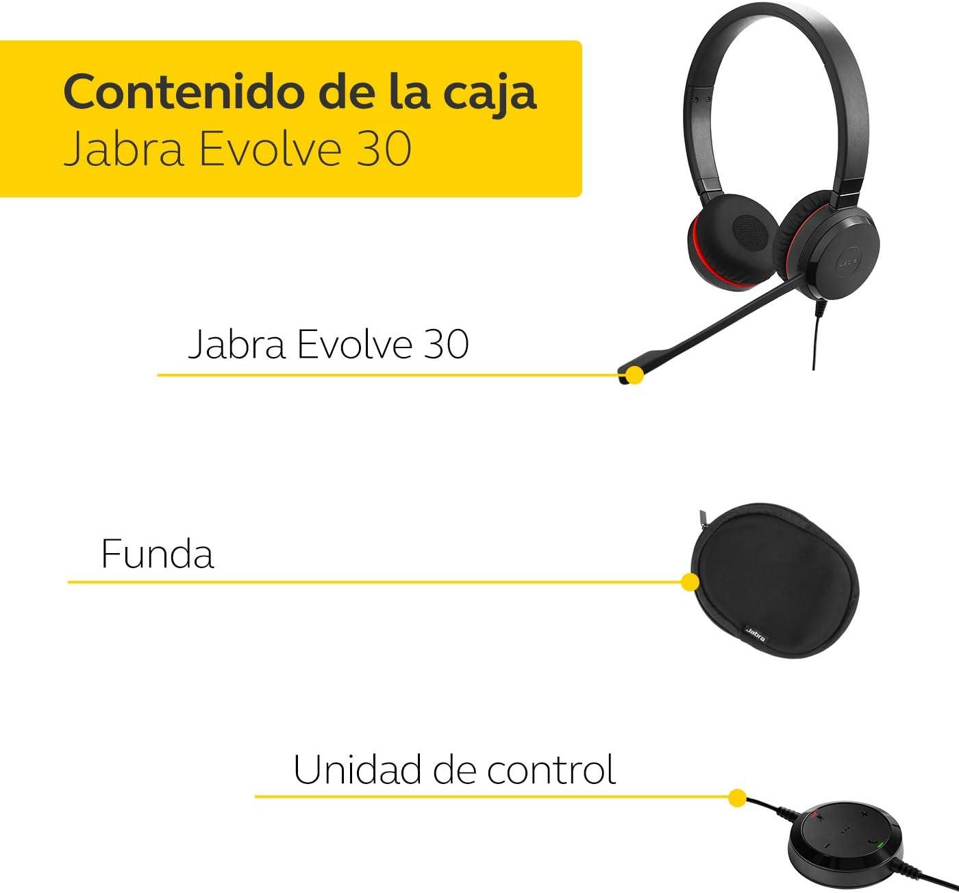 Jabra Evolve 30 II Auriculares externos est/éreo optimizados para Microsoft Lync con cancelaci/ón de Ruido