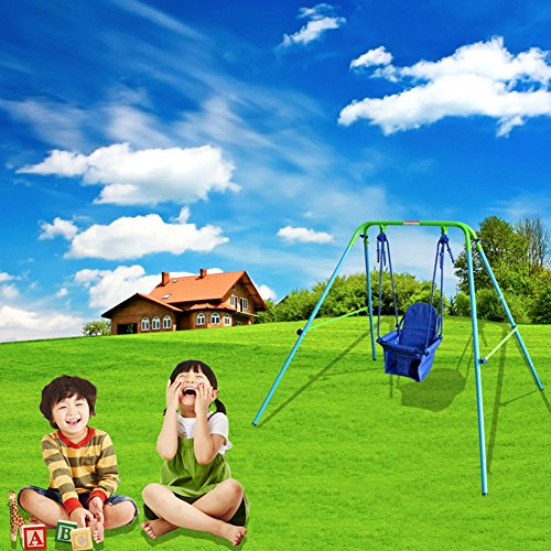 DREAMALL Toddler Baby Metal Swing Sets Chair Hammock Folding glider Step2 Swing Set with Frame Fit for boys kids Girls infant Indoor Outdoor Backyard swing Shipping From US