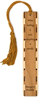 product image for Margaret Drabble - Everything is Possible Quote - Engraved Wooden Bookmark with Tassel