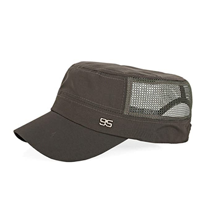 a72ac750c4980 Simple 2019 Stylish Zinc Alloy Unisex Flat Roof Hat for Men Cadet Patrol  Bush Mesh Baseball