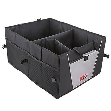 GLOBEPROOF Kofferraum-Tasche XXL /& ultrastark in edlem Schwarz-Grau mit 50 Liter Volumen PKW-Klapp-Box ideal als Faltbox-Einkaufskorb /& Auto-Organizer 32x38x60cm Schwarz