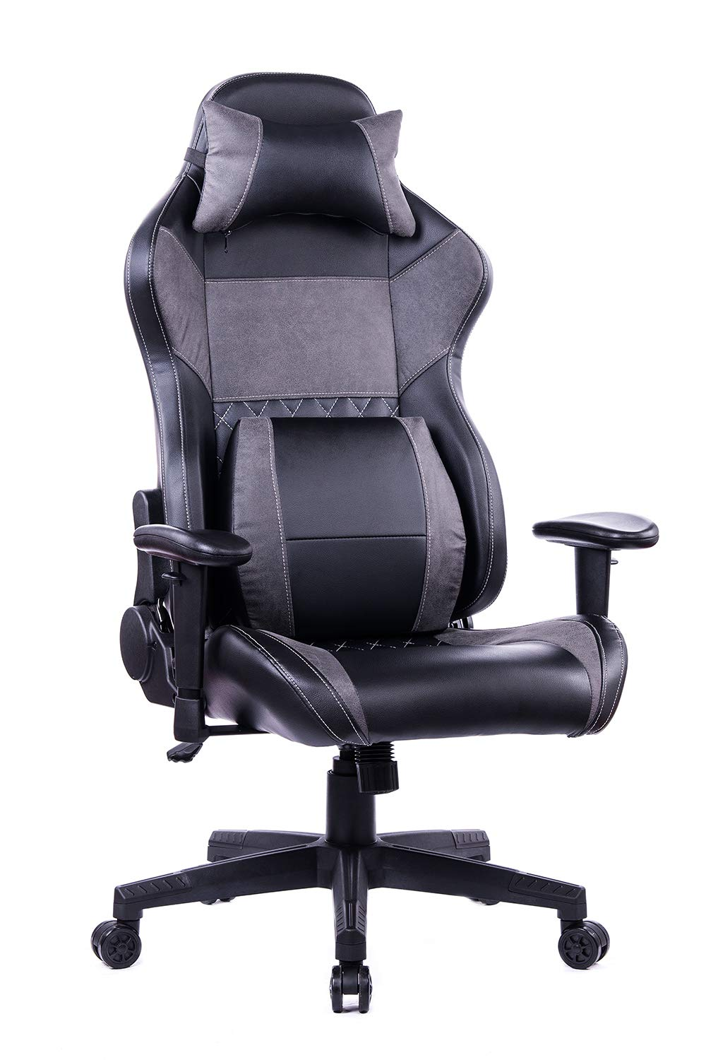 HEALGEN Gaming Office Chair with Large Lumbar Support,Reclining High Back Ergonomic Memory Foam Desk Chair,Racing Style PC Computer Executive Leather Chair with Headrest GM8260 (Grey)