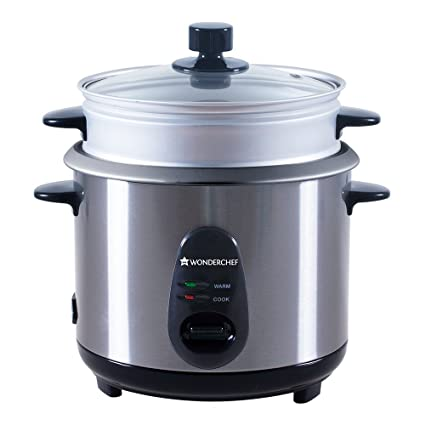 7ff1ed6ce64 Buy Wonderchef Prato 63152484 1.8-Litre Electric Rice Cooker (Silver Black)  Online at Low Prices in India - Amazon.in