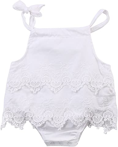 Newborn Baby Girls Snow White Backless Romper Jumpsuit Sunsuit Clothes Outfits