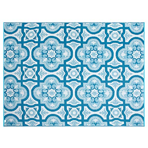 Indoor Outdoor Rug Mat - Smart Design Reversible Outdoor/Indoor Plastic Rug/Mat, Easy to Clean and Fold,Perfect for RV,Deck,Patio,Camping,Pianic and Beach-(Blue,8x10)