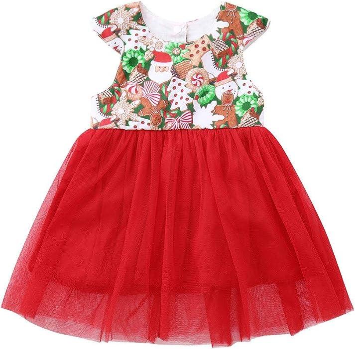 7cc85dbfc Amazon.com  KONFA Toddler Baby Girl Christmas Santa Claus Tree Dress ...