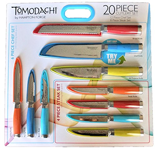 Hampton Forge Tomodachi 20 Piece Cutlery Set - 6 Piece Chef Set, 4 Piece Steak Set, 10 Blade Guards
