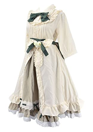 61b36a1350b2c Nite closet Sweet Victorian Lolita Dress for Women White Maid Costume  Frilly Floral
