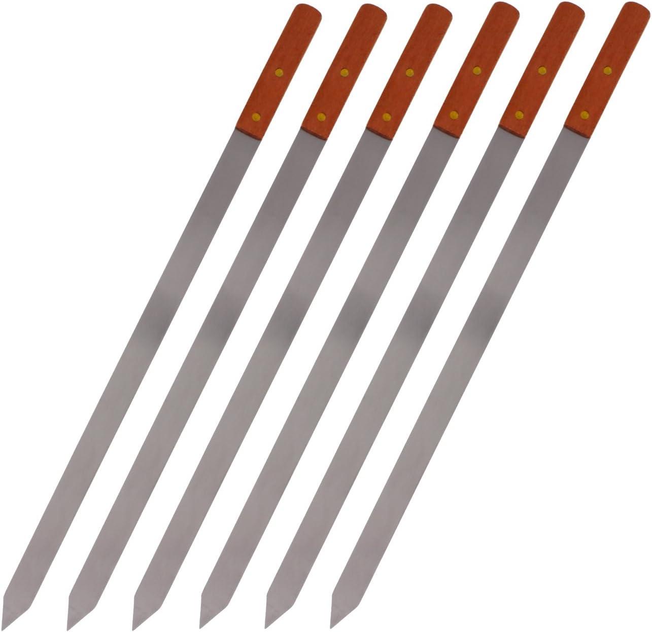 CHEFTOR Premium Stainless Steel Wooden Handle BBQ Skewers for Shish Kebab, Turkish Grills & Koubideh, Brazilian-Style BBQ, 23 Inch x 1 Inch, Set of 6