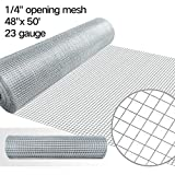 mesh wire fence - 48x50 Hardware Cloth 1/4 inch Square Galvanized Chicken Wire Welded Fence Mesh Roll Raised Garden Bed Plant Supports Poultry Netting Cage Wire Snake Fencing Gopher Proof Racoons Rabbit Pen Window