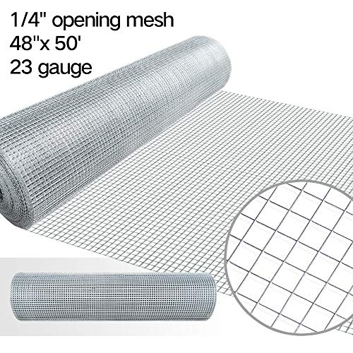 (48x50 Hardware Cloth 1/4 inch Square Galvanized Chicken Wire Welded Fence Mesh Roll Raised Garden Bed Plant Supports Poultry Netting Cage Wire Snake Fencing Gopher Proof Racoons Rabbit Pen Window)