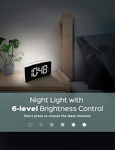 Digital Alarm Clock with Night Light, 6-Level Brightness and Adjustable Volume, 5 Curved LED Screen, Simple Bedroom Clocks with Snooze, 12 24H, Noiseless Touch Button, Outlet Powered
