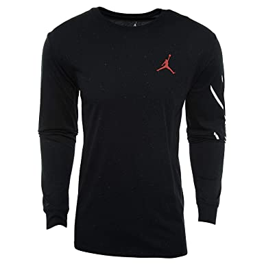 463389aa110b NIKE Mens Jordan Sportswear Flight Cement Long Sleeve T-Shirt Black White Gym  Red AA7748-010 Size 2X-Large at Amazon Men s Clothing store