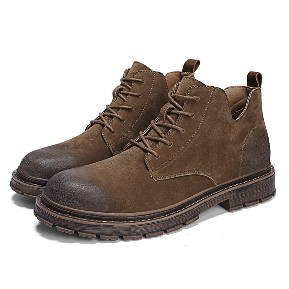 US M Color : Gray, Size : 9.5 D Suede Leather Shoes Classic Lace Up Desert Boot Casual Ankle Combat Boot Hilotu Mens Chukka Boots