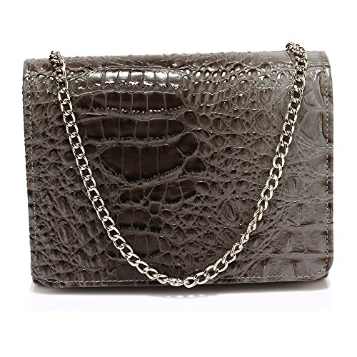 Crocodile Flap FREE Crocodile Grey Grey Clutch Beautiful Purse UK Clutch Flap Purse DELIVERY Beautiful 0BS4qgx