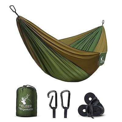 Fieleer Hamac de Camping ultra-léger ( 500g ) | 275 x 140cm, charge max 300kg, 1-2 personnes, nylon à parachute | Avec 2xMousquetons de qualités et 2xsangles de nylon | Pour voyage jardin randonnée