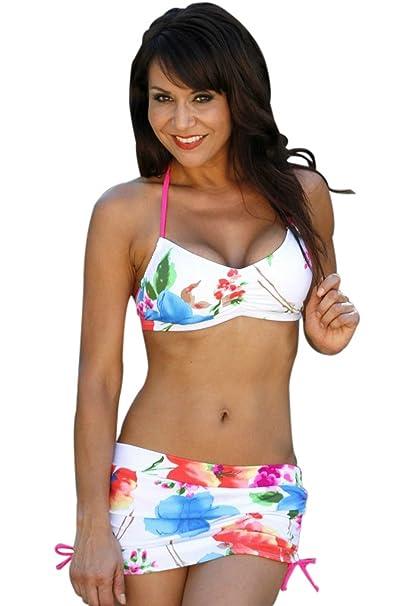 Amazon.com: UjENA Verano Blossom Falda Bikini Traje De Baño ...