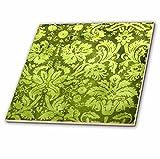 3dRose ct_32492_2 Decorative Vintage Floral Wallpaper Green-Ceramic Tile, 6-Inch
