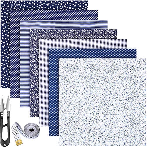 7 Pieces Cotton Craft Fabric Bundles Cotton Patchwork Fabric 50 x 50 cm Square Quilting Sewing Patchworks Multi-Design Cotton FabricTape Measure and Scissors for DIY Craft Supply