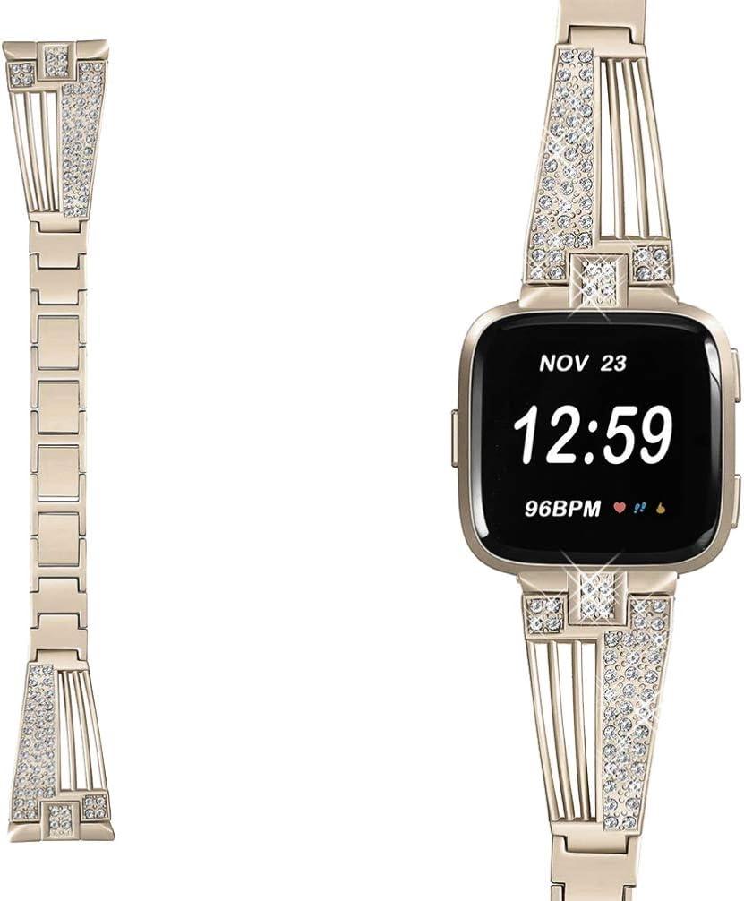 HEMOBLLO Correa de Reloj Inteligente de Cristal de Diamantes de imitación Correa de Reloj de Acero Inoxidable Pulsera de reemplazo de Pulsera Compatible para Fitbit Versa (Vintage Dorado)