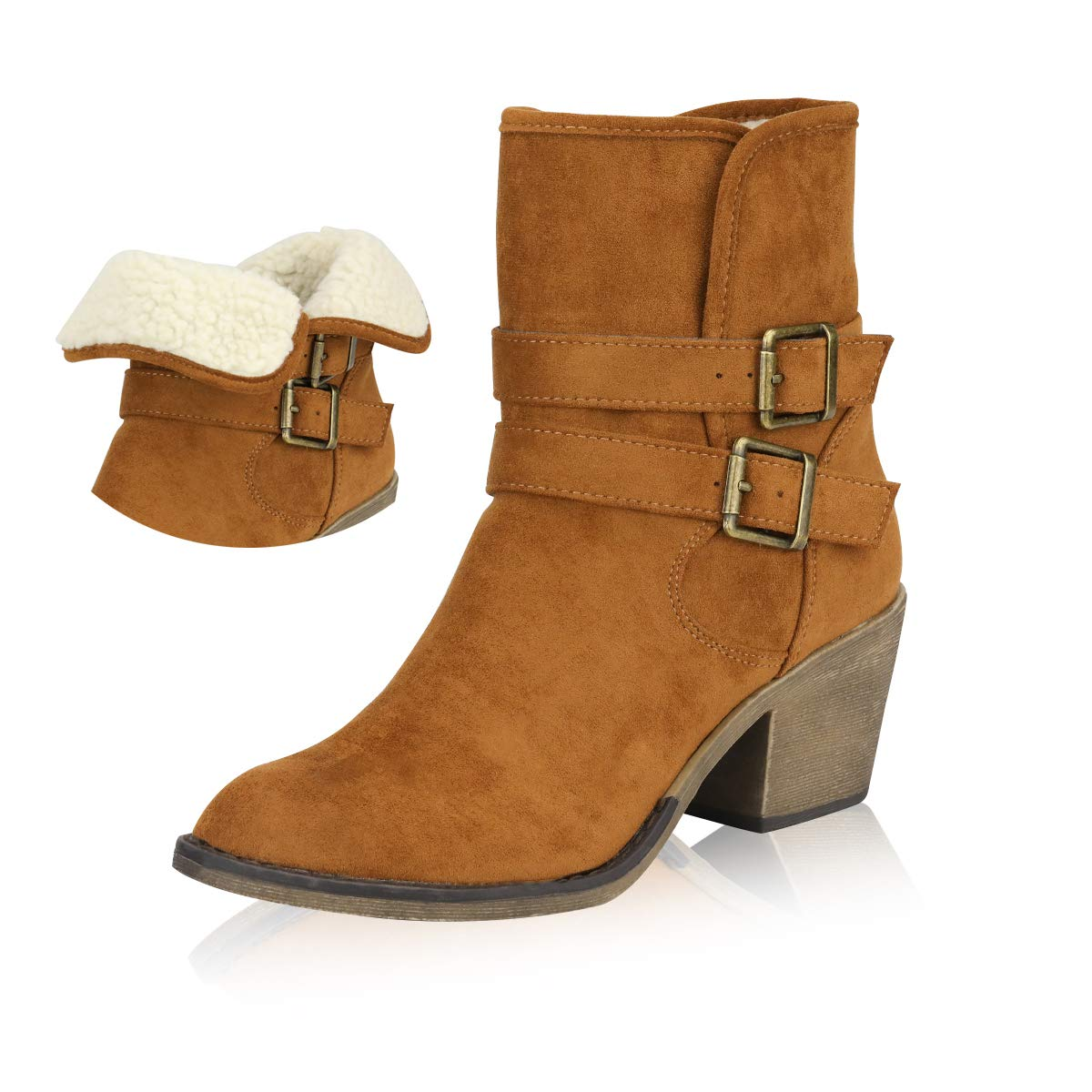 d829f8a91fb Yeviavy Women s Ankle Boots - Western Booties Low Heel Foldable Cuff Side  Zipper and Buckle Straps Design Lynn Brown Micro Suede 6