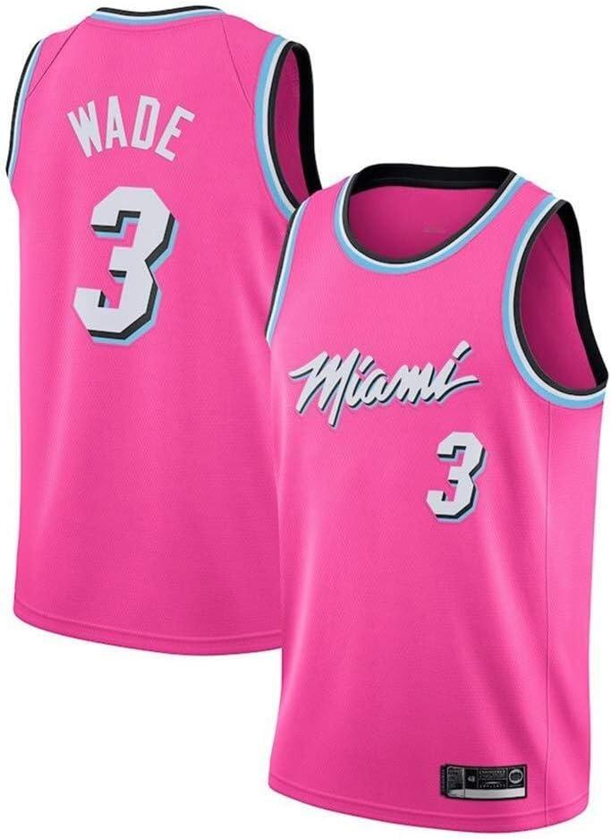 transpirable color Rojo Camiseta de baloncesto de la NBA de Miami Heat del n/úmero 3 Wade grabada tama/ño Small Shelfin