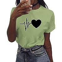 UMIPUBO Camiseta de Manga Corta Corazón Impresión Blusa Camisa Cuello Redondo Basica Camiseta Suelto Verano Tops Casual…