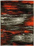 PRO RUGS ABSTRACT MODERN CONTEMPORARY MIXED COLORS PATTERNS DESIGN AREA RUG ORANGE AND GREY (8 Feet X 10 Feet)